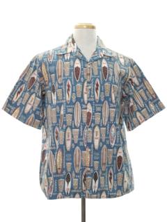 1980's Mens Reverse Print Hawaiian Shirt