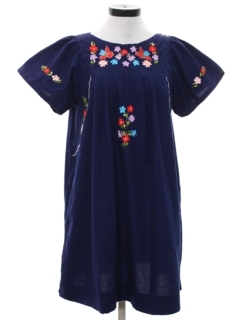 1970's Womens Embroidered Mexican Hippie Dress