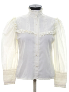1970's Womens Totally 80s Victorian Style Lace Prairie Shirt