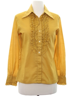 1970's Womens Ruffled Tuxedo Shirt