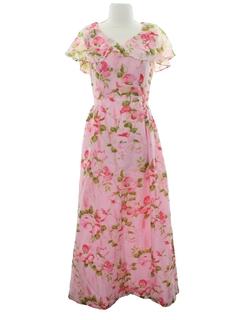 1970's Womens Print Maxi Dress
