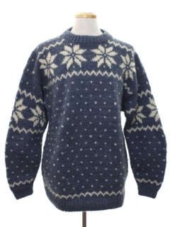 1980's Mens Alpaca Wool Snowflake Ski Sweater