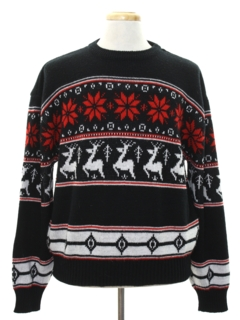 1980's Mens Totally 80s Snowflake and Reindeer Ski Sweater