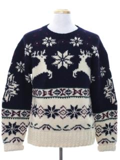 1990's Mens Wool Reindeer Ski Sweater