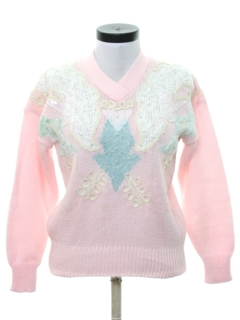 1980's Womens Totally 80s Beaded Sweater