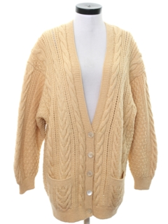 1980's Womens Cardigan Cable Knit Sweater