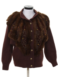 1980's Womens Totally 80s Faux Fur Sweater Jacket