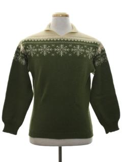1970's Mens Vintage Mod Snowflake Ski Sweater