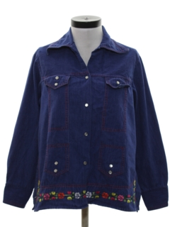 1970's Womens Embroidered Denim Leisure Style Hippie Jacket