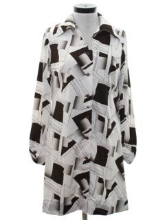 1970's Womens Mod Op-Art Print  Shift Dress