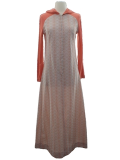 1960's Womens Knit Hippie Maxi Dress