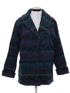 1980's Womens Wool Car Coat Style Jacket