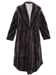 1970's Womens Faux Fur Duster Coat Jacket