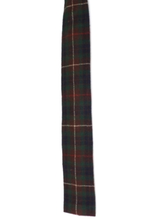 1960's Mens Mod Square Bottom Tartan Plaid Necktie
