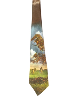 1970's Mens Wide Photo Print Disco Necktie