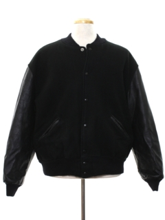 1980's Mens Wool and Leather Baseball Jacket