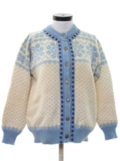 1970's Womens Cardigan Snowflake Ski Sweater
