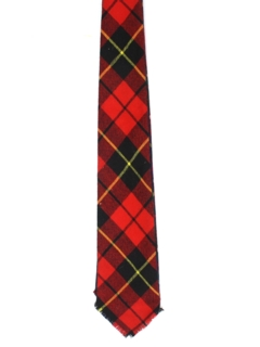 1950's Mens Reversible Wool Tartan Plaid Necktie