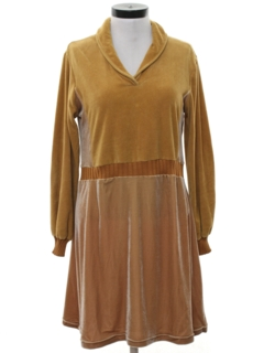 1970's Womens Velour A-Line Mini Dress