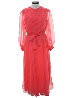 1970's Womens Disco Style Cocktail Maxi Dress