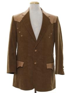 1980's Mens Corduroy Western Blazer Sport Coat Jacket