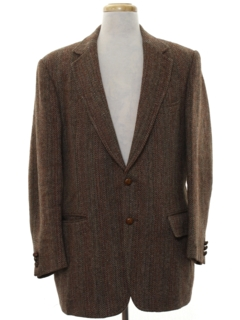 1970's Mens Herringbone Tweed Blazer Sport Coat Jacket