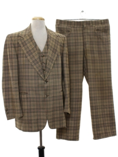 1970's Mens Wool Disco style Three Piece Plaid Suit