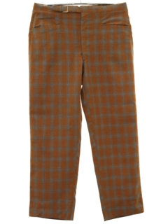 1960's Mens Mod Leisure Style Plaid Wool Pants