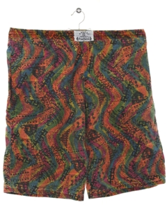 1980's Mens Totally 80s Baggy Print Shorts