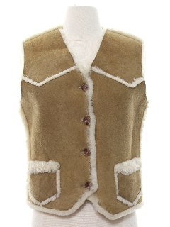 1980's Womens Shearling Suede Leather Vest