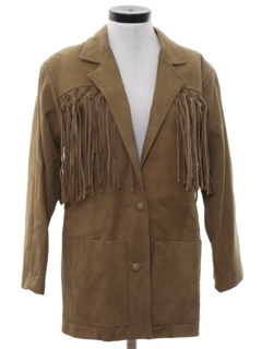 1980's Womens Western Leather Fringe Jacket