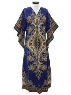 1970's Womens Hippie Dashiki Maxi Dress