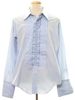 1980's Mens Ruffled Tuxedo Shirt