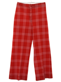 1970's Womens Plaid Flared Knit Pants