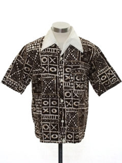 1960's Mens Mod Hawaiian Style Tapa Print Beach Sport Shirt