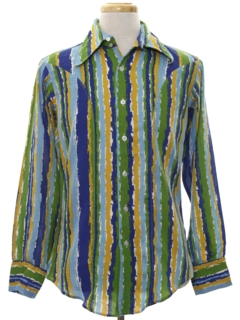 1970's Mens Print Disco Style Cotton Blend Shirt