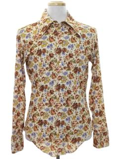 1970's Mens Hippie Style Print Disco Shirt