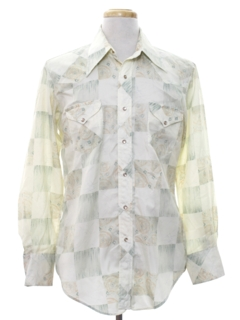 1970's Mens Hippie Style Print Western Shirt
