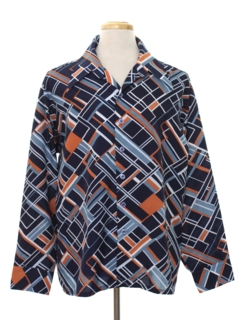 1970's Mens Abstract Print Disco Shirt