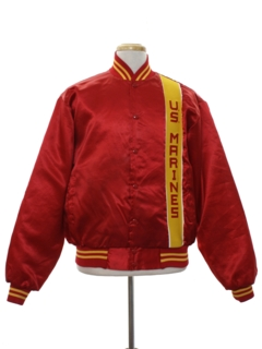 1980's Mens Military Marines Satin Baseball Jacket
