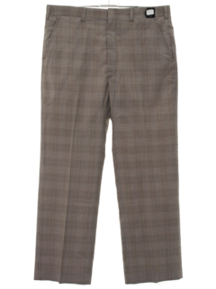 1980's Mens Preppy Plaid Flat Front Slacks Pants