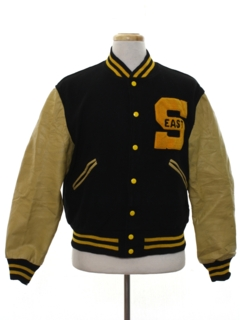 1950's Mens Leather Baseball Style Letterman Jacket