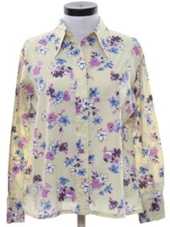1970's Womens Print Disco Style Cotton Blend Shirt