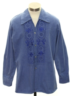 1970's Mens Embroidered Denim Hippie Shirt