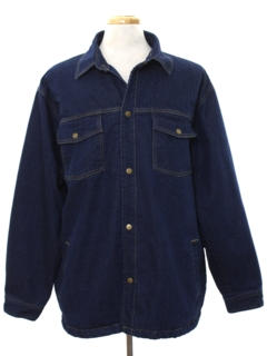 1990's Mens Denim Car Coat Jacket