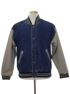 1990's Mens Baseball Style Denim Jacket