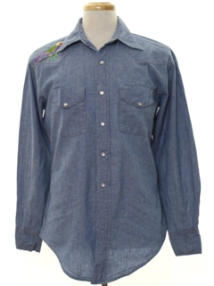 1980's Mens Embroidered Western Chambray Hippie Shirt
