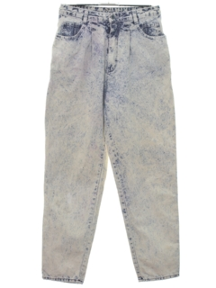 1980's Womens Totally 80s Acid Washed Denim Jeans Pants