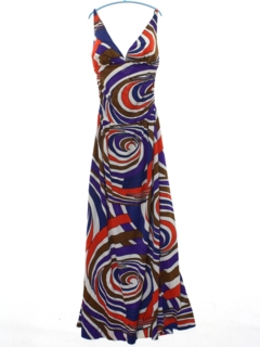 1960's Womens Op-Art Halter Dress