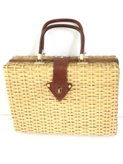 1980's Womens Accessories - Wicker Suitcase Purse